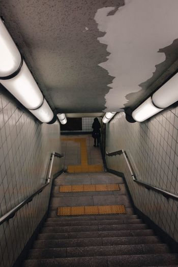 The Way Forward Direction Architecture Staircase Wall - Building Feature Indoors  Railing Subway Wall