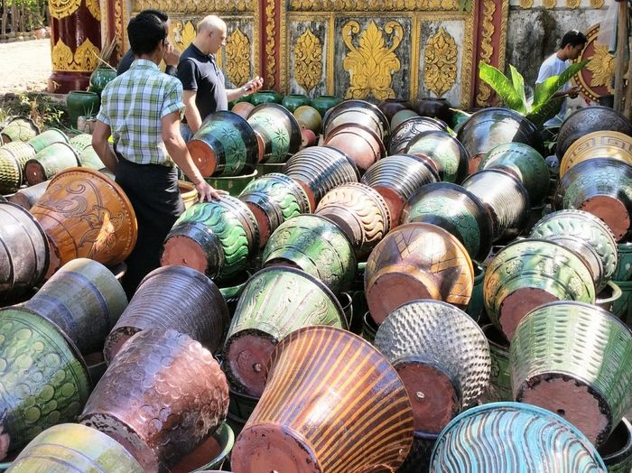 Tea Cup Wall Colorful Display Selection Painted Clay Art And Craft Jar Outdoors Outdoor Photography Daylight Streetphotography Tourism Travel Photography Myanmar Yangon Full Frame For Sale Retail Display Display Repetition Collection Market Art Shop Pottery ArtWork Pot Pile