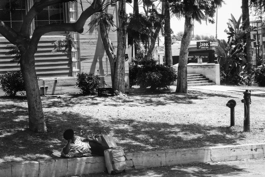 Bags Blackandwhite City Life Heat - Temperature Homeless Lady Lonely Melancholy Mood No Filter On The Way Outdoors Palm Tree Poverty Poverty Gap Real People Sadness Shadow Society