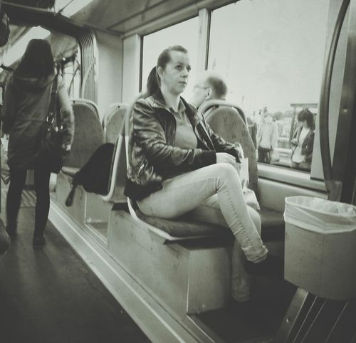 Hating Public Transportation Blackandwhite Streetphotography Street Portrait