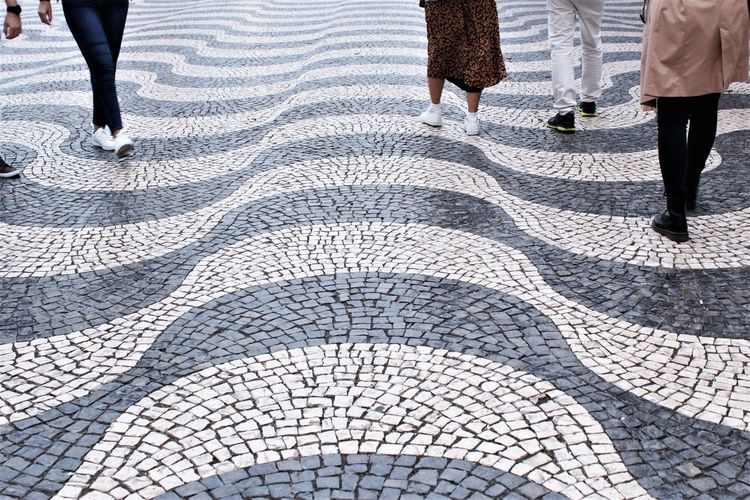 Black and white color of mosaic pavement  in lisbon, portugal photo