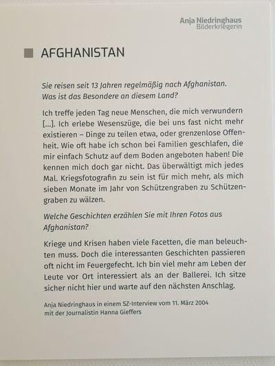 Job Ethos - Anja Niedringhaus, Käthe Kollwitz Museum Köln Eyeem Cologne Biographies War Photography Exhibition Exhibition Text Information Paper Text