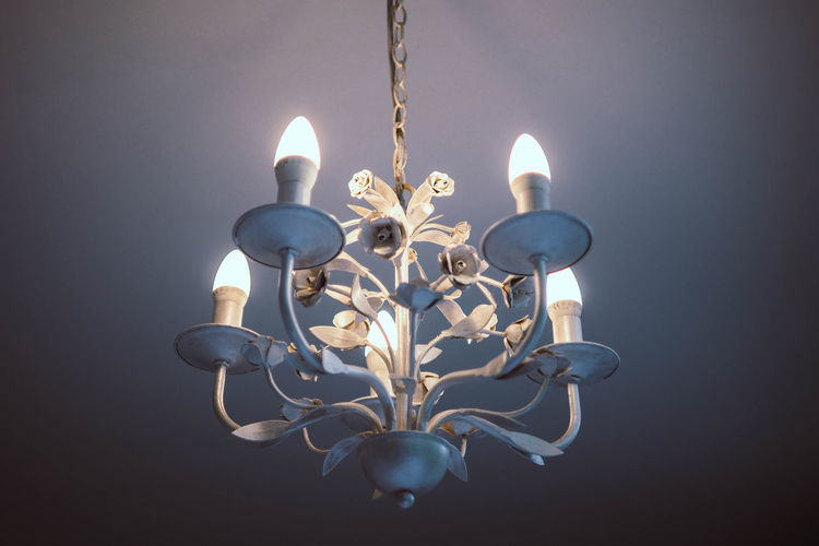 Steel chandelier Illuminated Glowing Indoors  Fire Close-up Lighting Equipment Decoration Chandelier Electricity  Electric Lamp