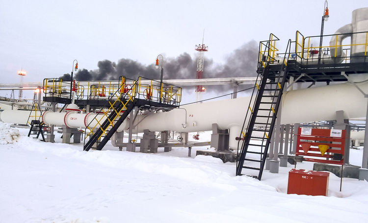 Oil Oil Pump Gas Gasprom Rosneft Refinery Industry Snow Winter Cold Temperature Smoke - Physical Structure Building Exterior Architecture Nature Built Structure Day Smoke Stack Sky White Color Covering Environment Environmental Issues Outdoors Factory No People Transportation Pollution Air Pollution