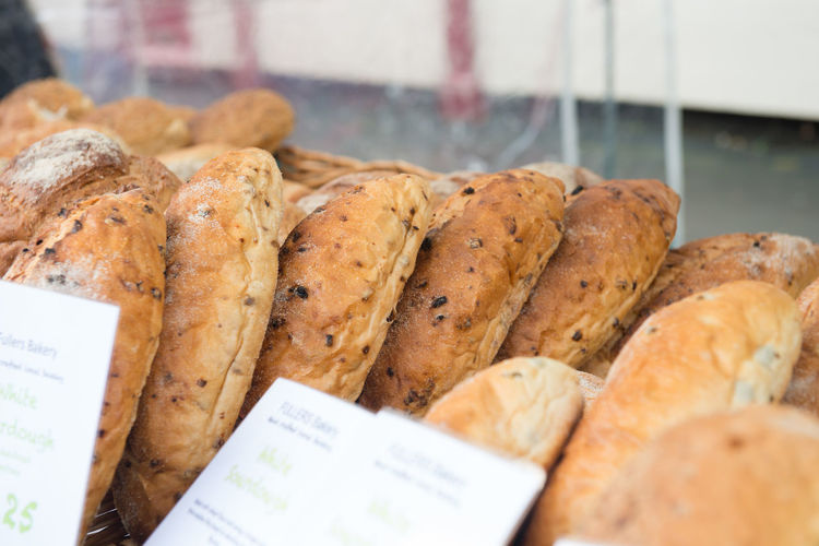 High Angle View Of Breads For Sale At Market
