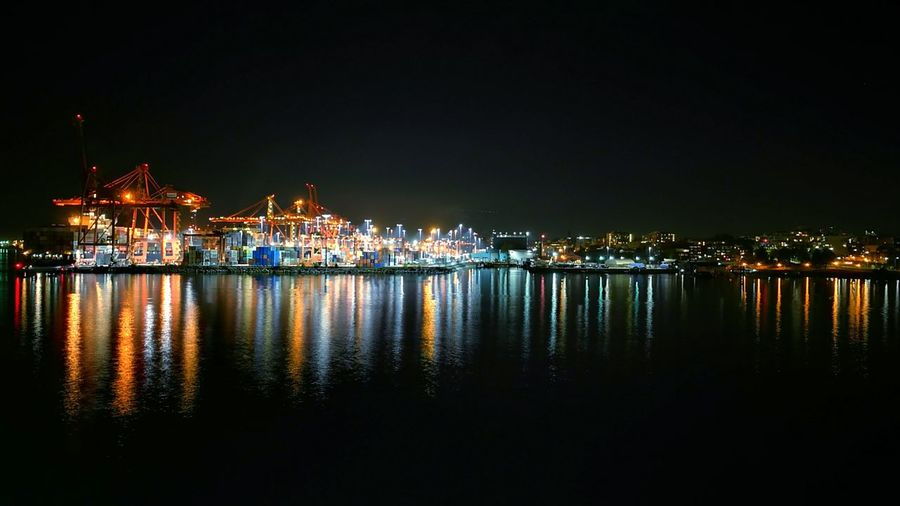 Night Illuminated Cityscape Reflection Built Structure Sky No People Vancouver Canada IROS