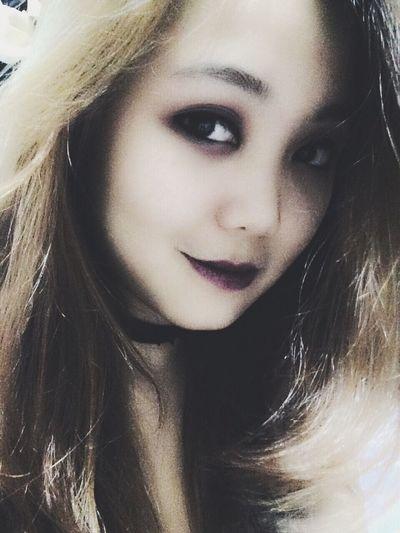 New choker. New game. Choker Game Purple Lipstick Asian Girl Hello World