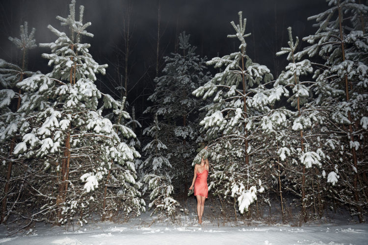 Woman standing by tree in forest during winter