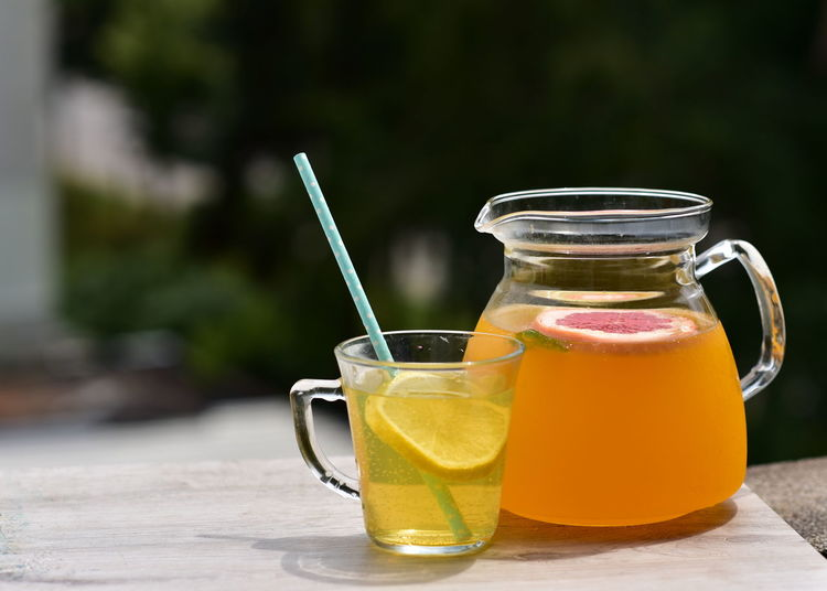 Drink in glass jar on table