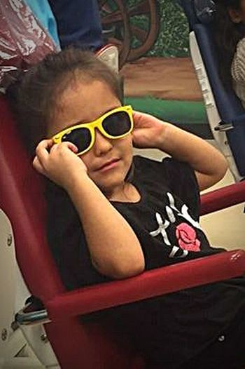 """Oh, I'm sorry...I guess you didn't know you were dealing with a SUPER STAR!!!"" Fun Girls Child Indoors  Smiling Granddaughter Salon Sunglasses"
