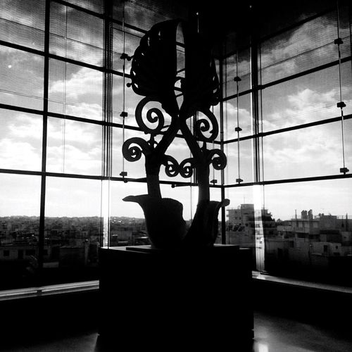 Τhe roof ornamentation of the Parthenon Silhouette of an Artefact Roof Ornament of Parthenon Urban Landscape Urban Reflection on the Glass Walls of the third Floor of the Acropolis Museum Bnw_silhouettes for Bnw_friday_eyeemchallenge No People Athens