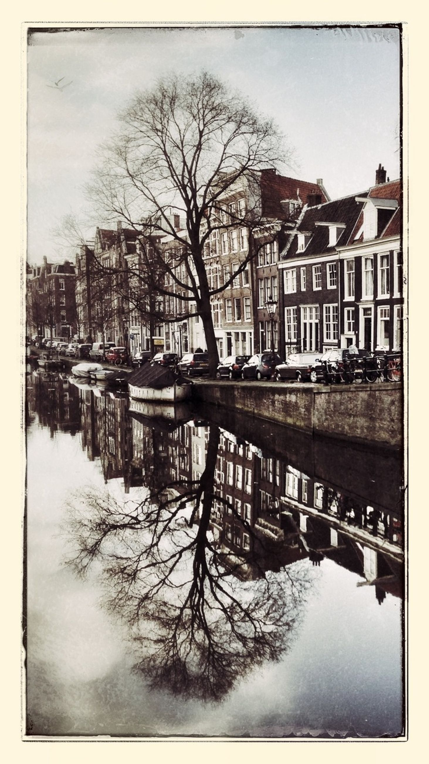 architecture, built structure, building exterior, bare tree, water, transfer print, tree, river, reflection, canal, city, auto post production filter, bridge - man made structure, sky, waterfront, connection, residential building, residential structure, winter, lake