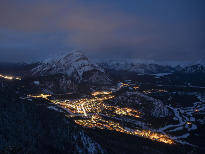 Banff sunset and town lights from sulphur mtn