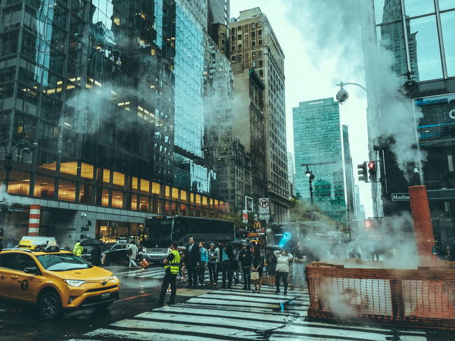 Usa Trip 2017 Last Summer Let's Go Explore USA New York City Manhatten Last Days Of Summer New York City Life Urbanphotography City Architecture Group Of People Building Crosswalk Rain Skyscraper Motion Streetphotography Cinematography Cinematic Reflection EyeEm Best Shots