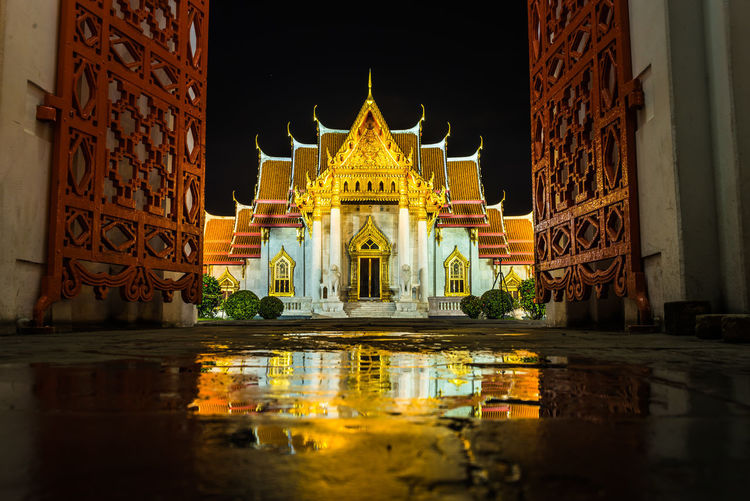 beautiful marble temple in twilight time Place Of Worship Architectural Column Religion Business Finance And Industry Reflection Statue Architecture Built Structure Building Exterior Pavilion Palace Entryway Entrance Reflecting Pool Stupa Open Door Gate