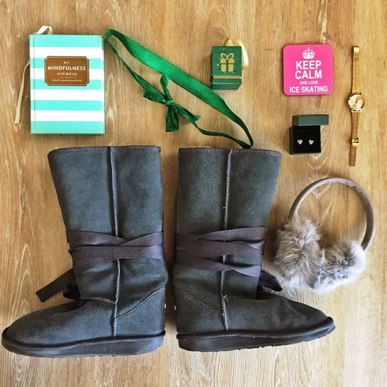 Winter flatlay Earmuffs Winter Holiday Packing Flatlay Uggs Warm Boots Winter Winter Flatlay