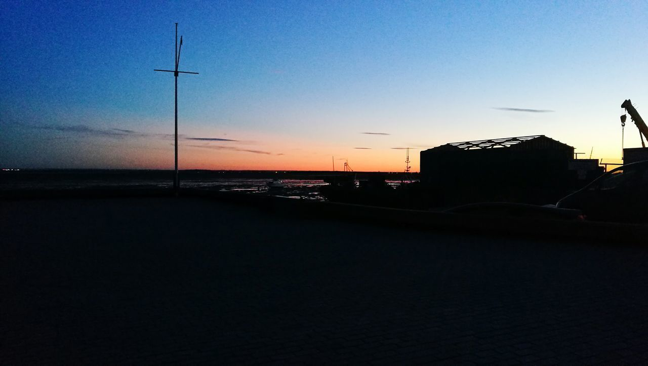 sunset, silhouette, sky, no people, nature, outdoors, scenics, sea, clear sky, blue, beauty in nature, day