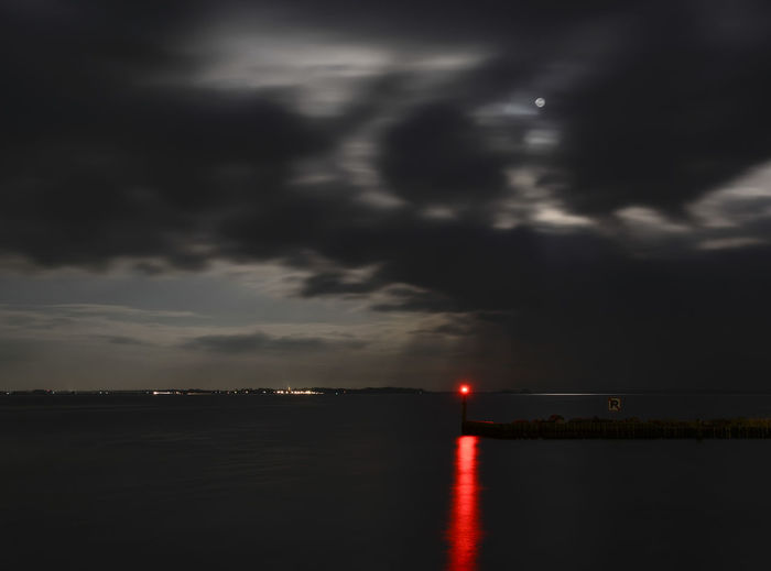 port Neuendorf Baltic Sea Entry Lighthouse Lights Moon Neuendorf Red Beauty In Nature Cloud - Sky Hiddensee Illuminated Lightning Nature Night No People Outdoors Port Scenics Sky Water