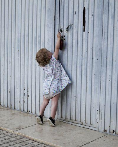 Child Childhood EyeEm Selects Full Length Corrugated Iron Tiptoe Children Preschooler