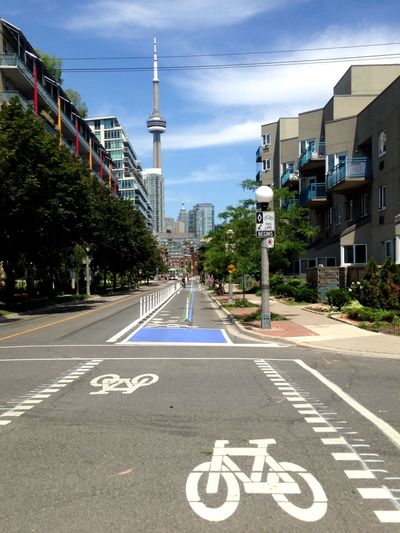 Urban Exploration Exploring My City Billy Bishop Airport Toronto Skyline CN Tower - Toronto Downtown Walking Around Strolling Sunny Day Bike Lane