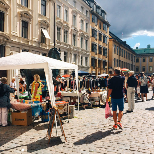 Flea Market, Stockholm, Sweden Architecture Building Building Exterior Built Structure City City Life Day Enjoyment Flea Markets Incidental People Large Group Of People Lifestyles Market Outdoors Perspective Real People Stockholm Street Sweden Togetherness Weekend Activities