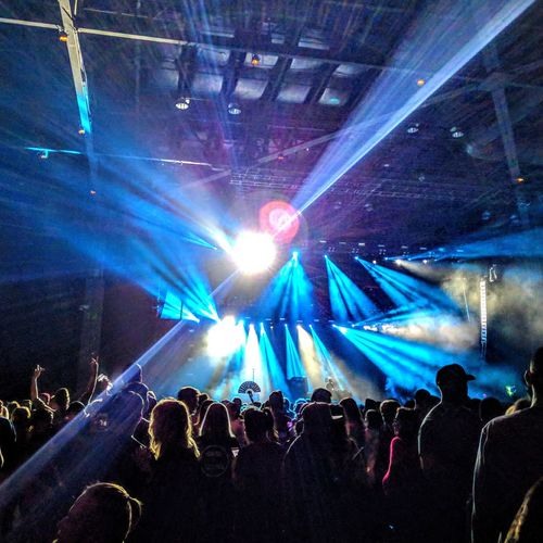 rave Popular Music Concert Crowd Audience Illuminated Fan - Enthusiast Nightlife Human Hand Musician Performance Stage Light