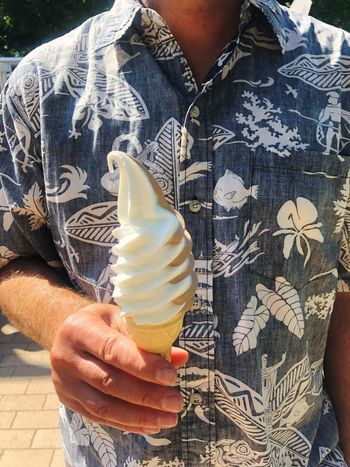 Hawaii Shirt Summertime Summer One Person Food Food And Drink Real People Midsection Holding Hand Human Hand Lifestyles Ice Cream Freshness Human Body Part Front View Sweet Food Day Frozen Food Outdoors