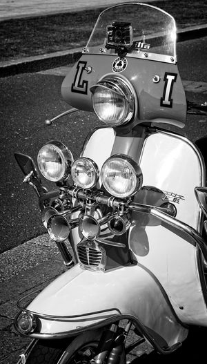 Classic Lambretta 125 125cc  Classic Close-up Day Handlebar Headlight High Angle View Horns Italian Lambretta Land Vehicle Mode Of Transport Mods Scooters Motorcycle No People Outdoors Retro Road Scooter Shiny Stationary Street Transportation