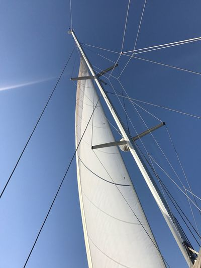 Mast Nautical Vessel Sailboat Sailing Mode Of Transport Transportation Canvas Rigging Sailing Ship Blue Low Angle View Outdoors No People Rope Day Clear Sky Sky Tall Ship Nature Yacht Ibiza Eivissa
