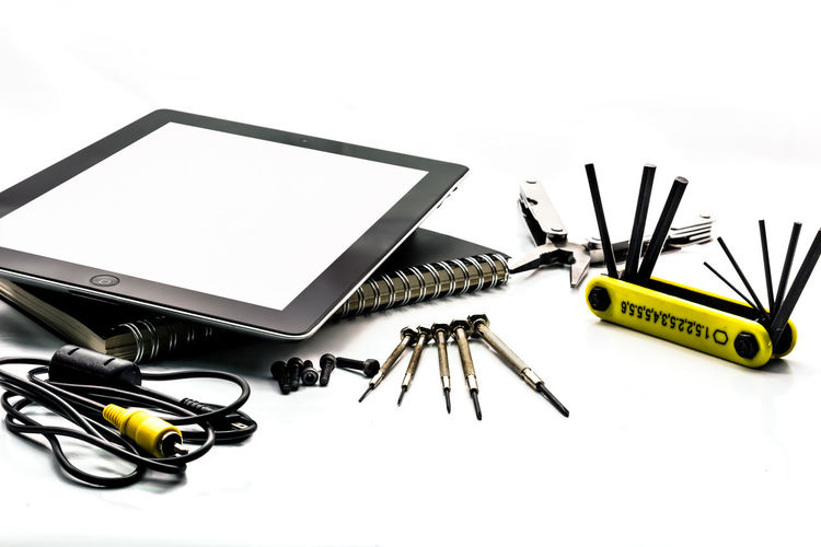 Background Contemporary Detail Equipment Focus On Foreground Function Instruments Iron Isolated Large Group Of Objects Mechanic Metal Monitor Multi Notebook Part Of Screwdriver Selective Focus Set Steel Tablet Technology Tools White Wrench