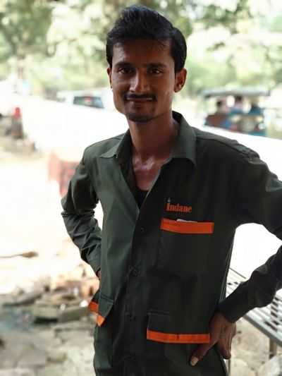 Gas Cylinder fixer Protective Workwear Looking At Camera Smiling Standing Real People Kanpur,India