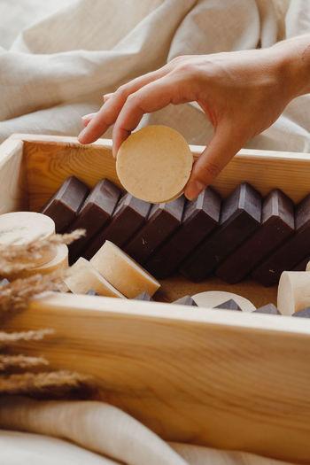 Full frame shot of ice cream on wooden table