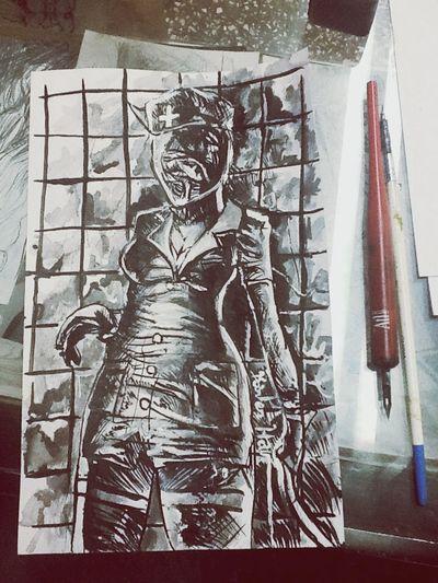 Nurse 2 ... SH 2 .... Técnica : tinta China y acrílico Art My Drawing Drawing Sketch