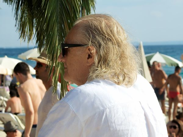 Beach Casual Clothing Day Focus On Foreground Leisure Activity Lifestyles Long Hair Old Man Person Sea Seascape Sky Summer Sunglasses Vacations Water Weekend Activities White Hair White Shirt People and Places Fresh On Eyeem  Sommergefühle