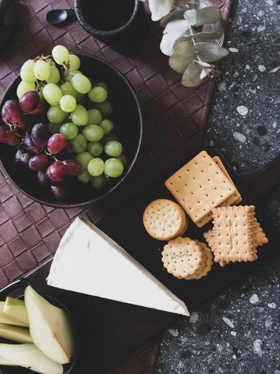 Friday. Food And Drink Food Healthy Eating Freshness Wellbeing High Angle View Fruit Dairy Product Directly Above Variation Cheese Plate SLICE Indoors  Grape Ready-to-eat Still Life Table No People Choice