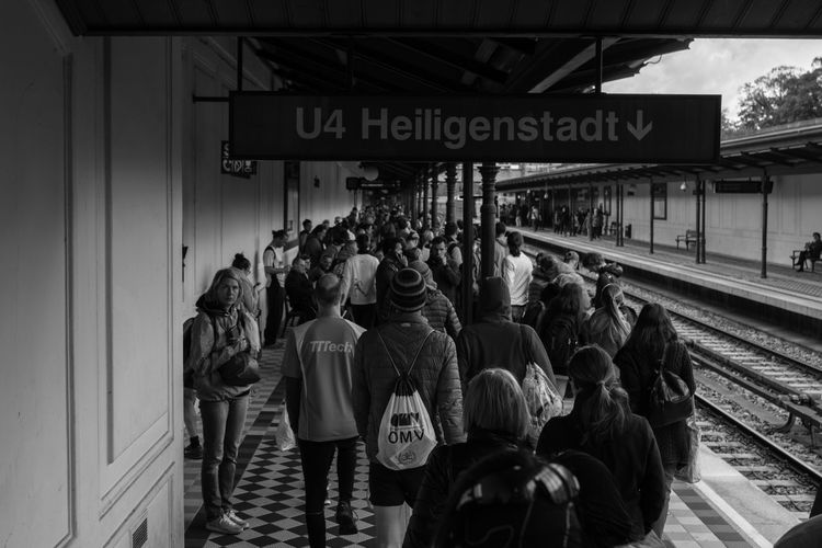 Waiting Crowd. Architecture Communication Day Large Group Of People People Public Transportation Rail Transportation Real People Standing Text The Street Photographer - 2017 EyeEm Awards Transportation