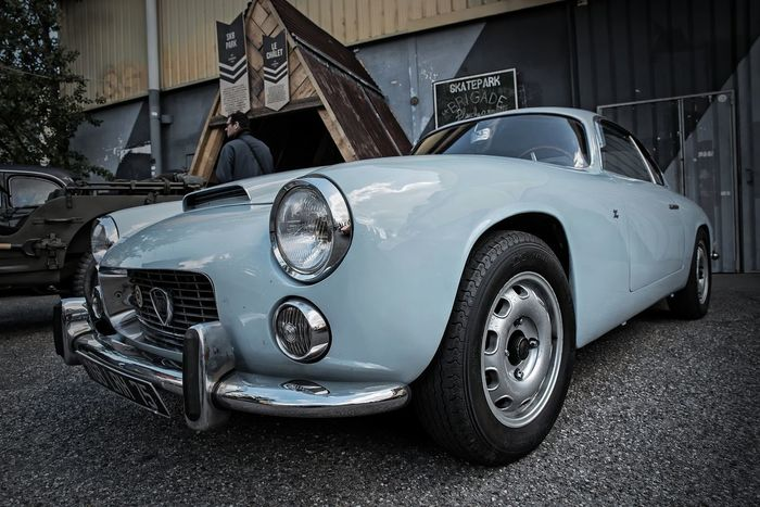 Lancia Old-fashioned Transportation Blue Car Day Headlight Land Vehicle Mode Of Transport No People Outdoors Retro Styled Vintage Cars