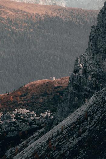 High angle view of rocks on mountain