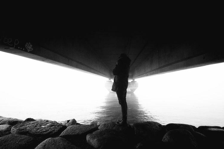 Alone Black And White Bridge Fujifilm Me Monochrome Portrait Samyang Xpro1