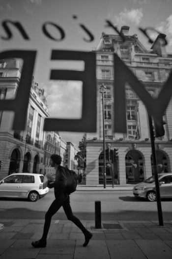 Oxford Street Street Traveling City Walking City Life Day London Sidewalk Window View Monochrome Great Britain Oxford Street  One Person Wide Angle View Streetphotography