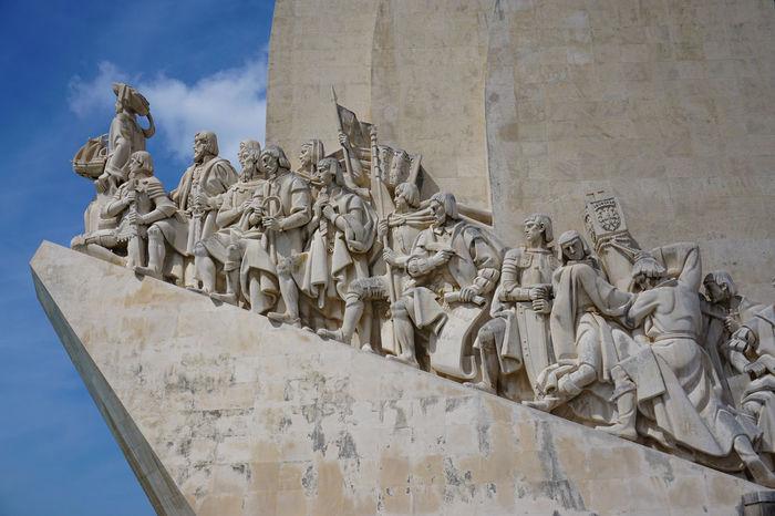2015  Architecture History Human Representation Lisboa Lisbon Memorial Tower Outdoors Padrão Dos Descobrimentos Portugal Sculpture Sky Statue The Past Tower ポルトガル 発見のモニュメント