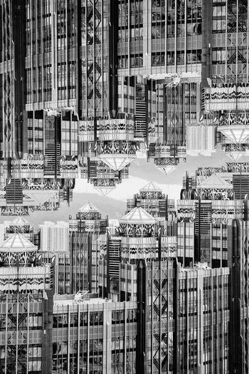 Digital composite image of buildings i city