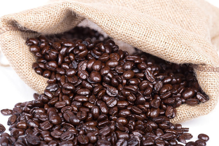 Coffee Sack Beans Burlap Bag White Bean Background Isolated Roasted Brown Canvas Caffeine Drink Dark Full Food Espresso Textile Cafe Jute Culture Mocha Textured  Beige Beverage Black Nature Seed Macro Dropping Natural Carry Scented Hessian Rough Fiber Sackcloth Crop  Grains Isolate