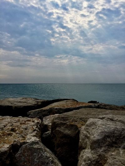 Rock, Sea and Sky Beach Beauty In Nature Cloud - Sky Day Horizon Horizon Over Water Land Nature No People Outdoors Rock Rock - Object Rocky Coastline Scenics - Nature Sea Sky Solid Tranquil Scene Tranquility Water