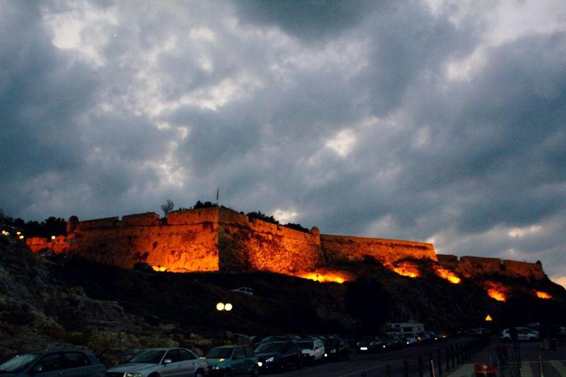 Greece Rethymno Crete Hellas Castle On The Road Clouds