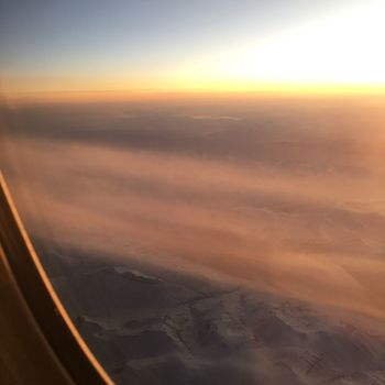 Airplane Transportation Sunset Aerial View Scenics Air Vehicle Sky Mode Of Transport Beauty In Nature Landscape Airplane Wing Nature No People Cloud - Sky Journey Aircraft Wing Travel Tranquil Scene Window Jet Engine