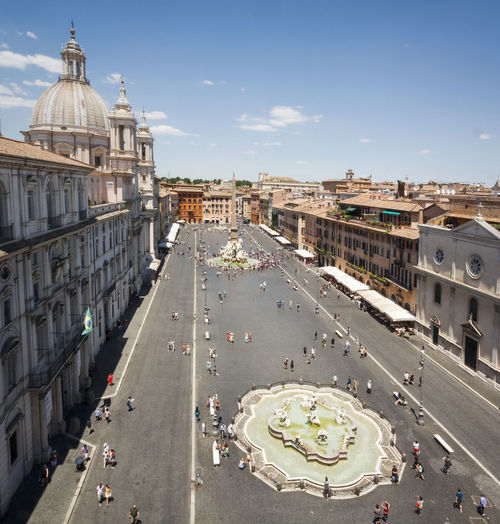 Aeriel view of Piazza Navona in rome Piazza Navona Roma Rome Travel Architecture Building Exterior Built Structure City Day High Angle View Large Group Of People Outdoors People Real People Road Sky Tourism Transportation Moving Around Rome Stories From The City