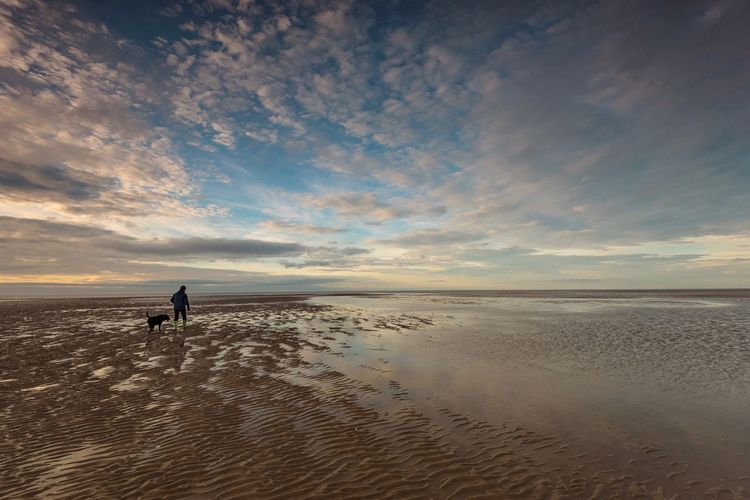 Haven Dog Walking Blue Sky Sand Ripples Sand Patterns Norfolk Hunstanton Travel Seaside Sea And Sky Coastline Great Britain Landscape Landscape_photography Water Sea Beach Sky Land Beauty In Nature Horizon Over Water Cloud - Sky Scenics - Nature Sand Horizon Unrecognizable Person Reflection Sunset