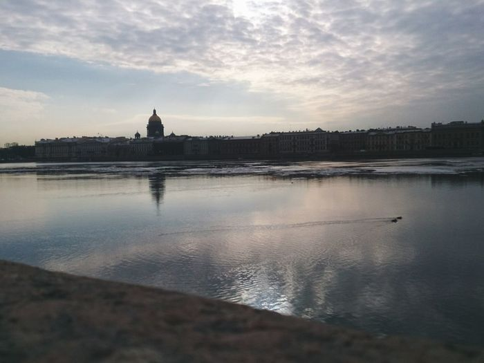 Sunrise at Neva River and Saint Isaac's Cathedral . Saint Petersburg Mobilephotography Mobile Photography Sony Xperia Zr River Embankment Cityscape Cityscapes City City View  Quiet Places Quiet Moments Tourist Attraction  Sightseeing Silhouette Urban Landscape Reflection Architecture Historical Monuments Landscapes With WhiteWall Urban Nature My Favorite Photo Shades Of Winter