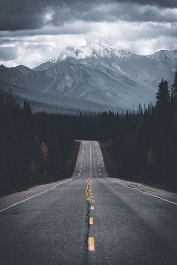 Road Leading Towards Mountains During Winter